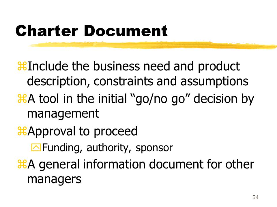 53 Charter Document zThe define phase focuses on producing a Project Charter document which is used as: yFormally recognize the existence of the project yAn early statement of the project goal and direction yA statement of the problems and opportunities to be addressed by the project