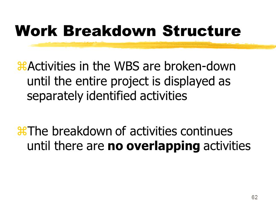 61 Work Breakdown Structure