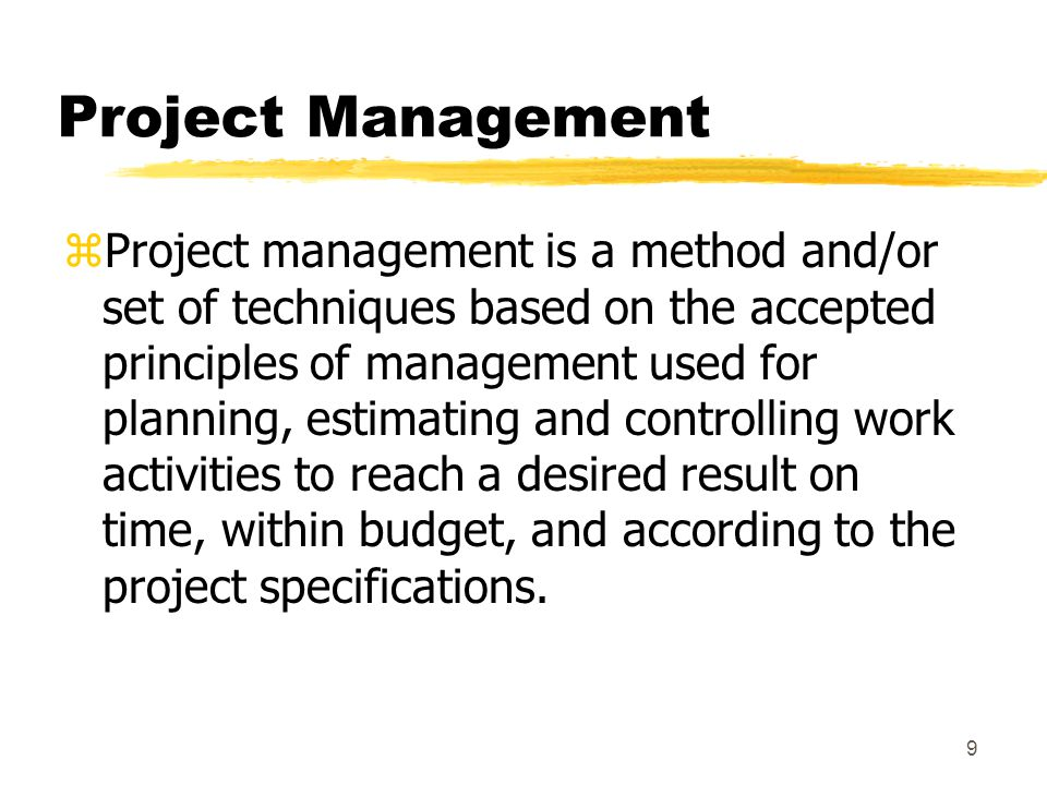 8 When is a Project a Project.
