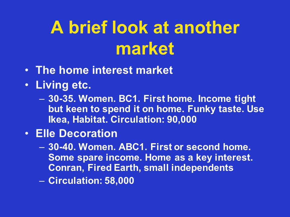 A brief look at another market The home interest market Living etc.