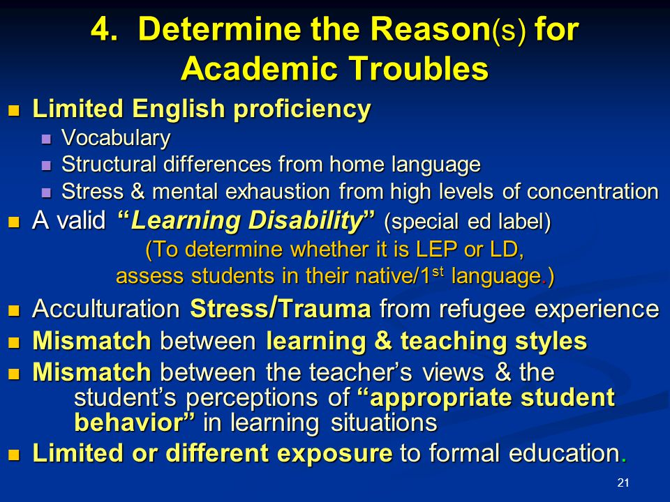 21 4. Determine the Reason (s) for Academic Troubles Limited English proficiency Limited English proficiency Vocabulary Vocabulary Structural differen