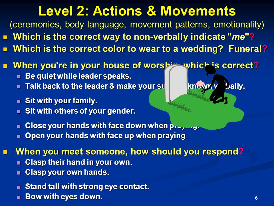 6 Level 2: Actions & Movements (ceremonies, body language, movement patterns, emotionality) Which is the correct way to non-verbally indicate me .