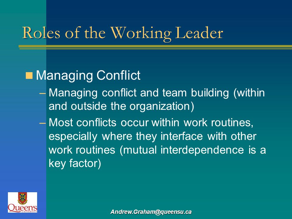 Andrew.Graham@queensu.ca Roles of the Working Leader Managing Conflict –Managing conflict and team building (within and outside the organization) –Mos