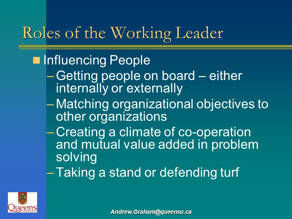 Andrew.Graham@queensu.ca Roles of the Working Leader Influencing People –Getting people on board – either internally or externally –Matching organizational objectives to other organizations –Creating a climate of co-operation and mutual value added in problem solving –Taking a stand or defending turf