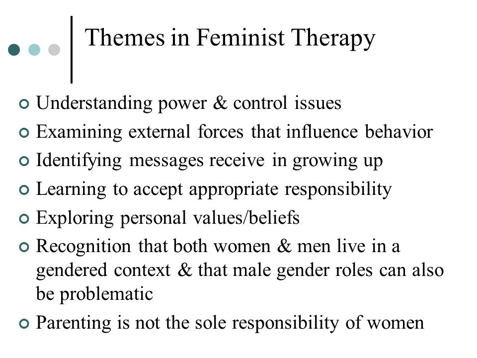 Themes in Feminist Therapy Understanding power & control issues Examining external forces that influence behavior Identifying messages receive in grow
