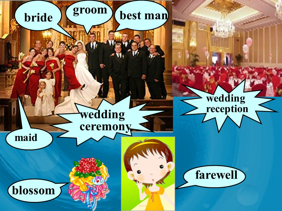 groom bride best man blossom wedding ceremony wedding reception farewell