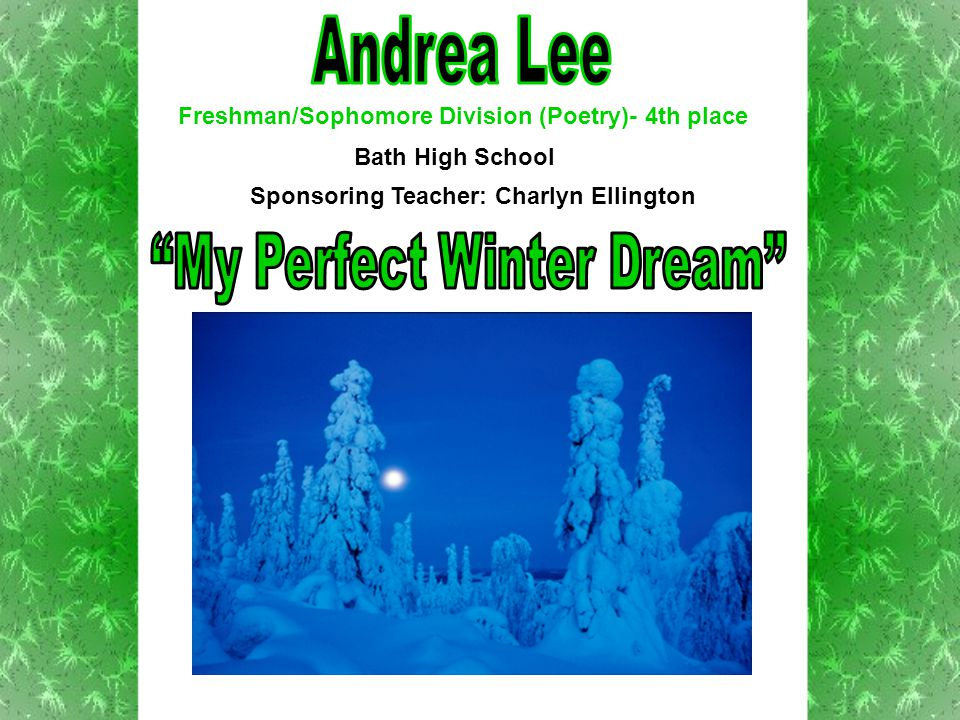Excerpt – Looking out of my frosted window I see a beautiful blanket of snow That had fallen during the night Without a footprint in sight The sun shines through the cold air Creating millions of diamonds everywhere The glitter of the snow is very bright Making everything look so white Freshman/Sophomore Division (Poetry)- 4th place