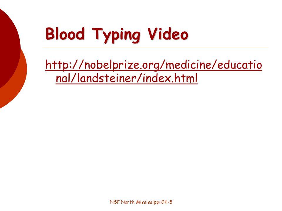 NSF North Mississippi GK-8 Blood Typing Video http://nobelprize.org/medicine/educatio nal/landsteiner/index.html