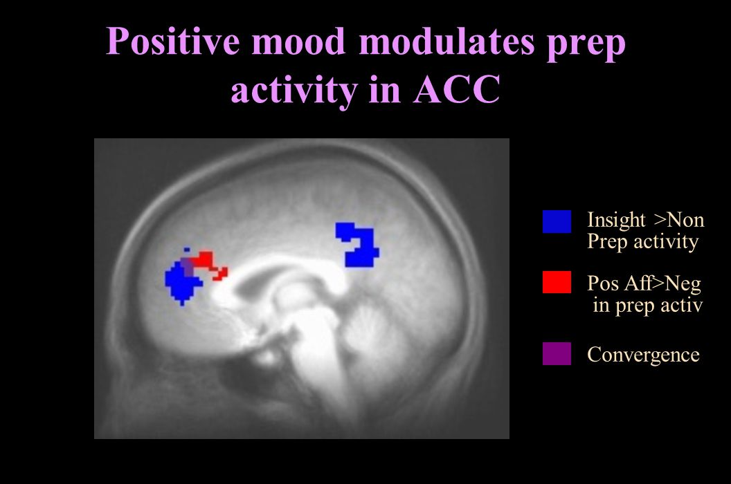 Positive mood modulates prep activity in ACC Insight >Non Prep activity Pos Aff>Neg in prep activ Convergence