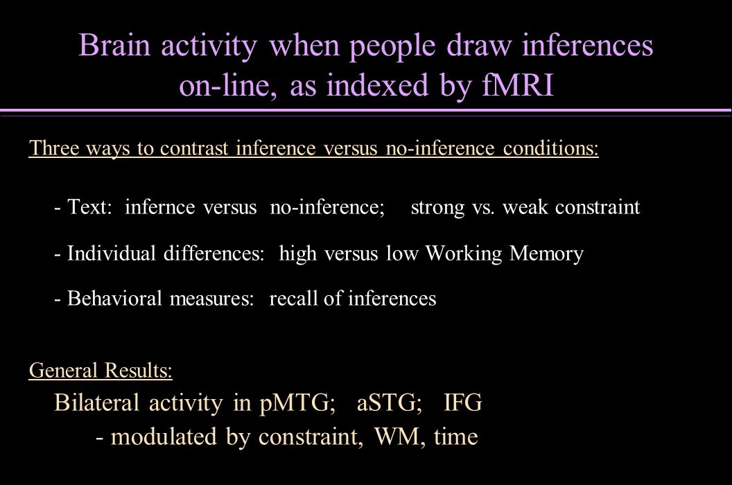 Brain activity when people draw inferences on-line, as indexed by fMRI Three ways to contrast inference versus no-inference conditions: - Text: infern