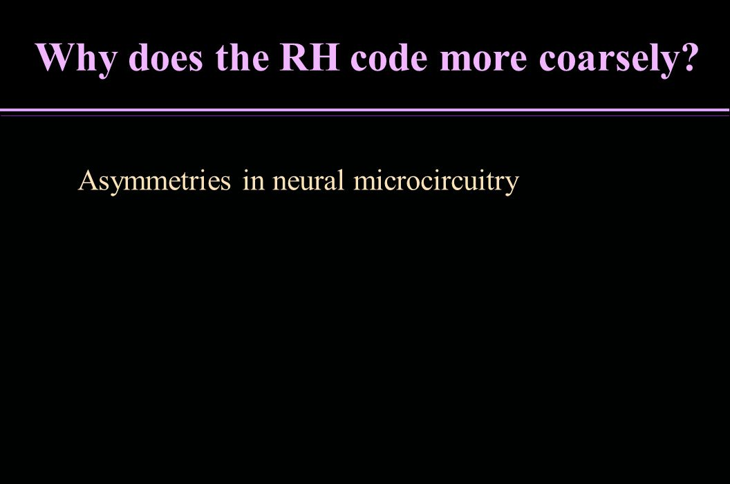 Why does the RH code more coarsely? Asymmetries in neural microcircuitry