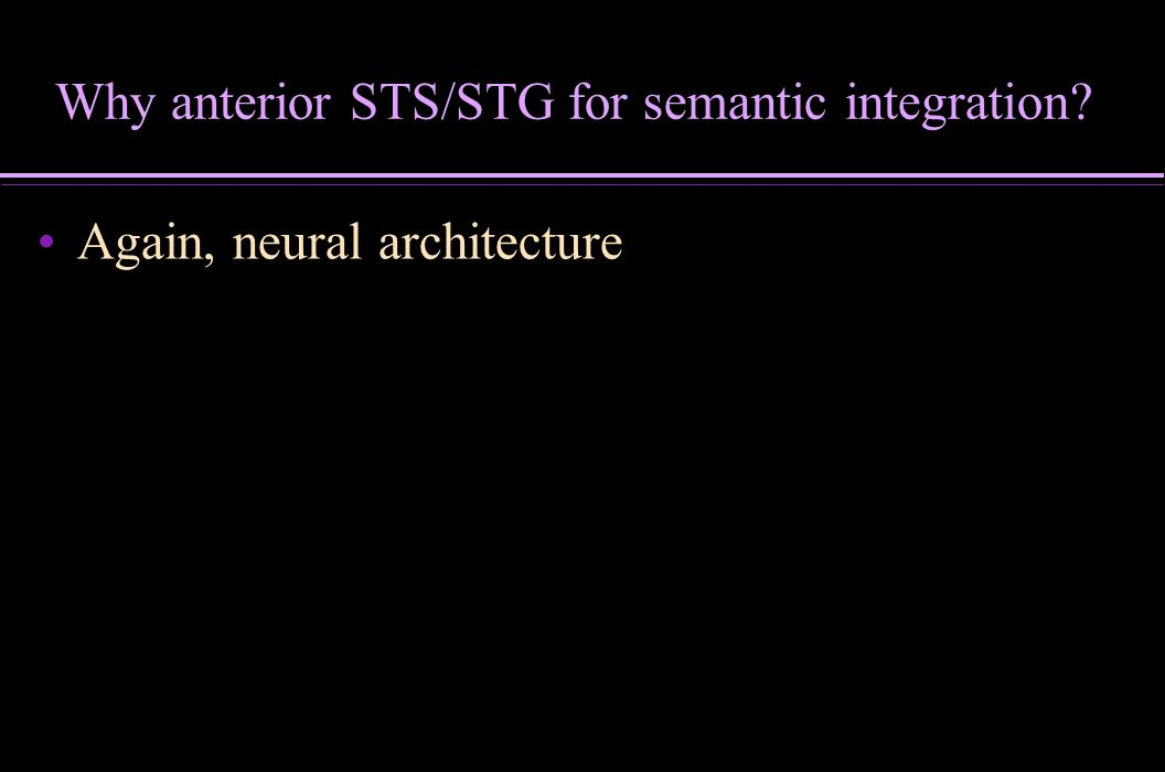 Why anterior STS/STG for semantic integration? Again, neural architecture