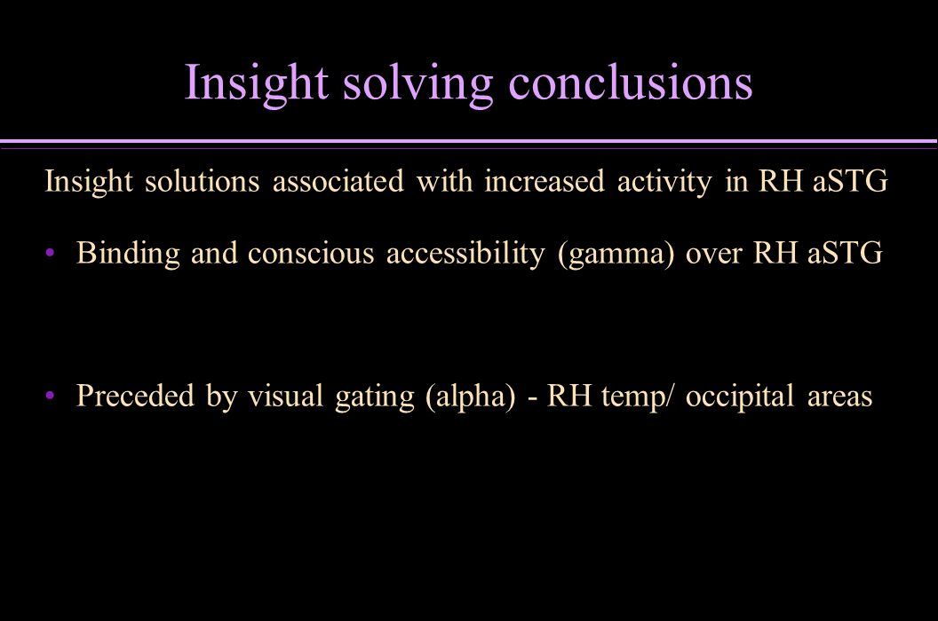Insight solving conclusions Insight solutions associated with increased activity in RH aSTG Binding and conscious accessibility (gamma) over RH aSTG P