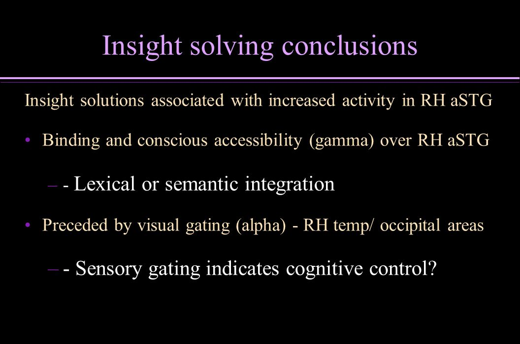 Insight solving conclusions Insight solutions associated with increased activity in RH aSTG Binding and conscious accessibility (gamma) over RH aSTG –