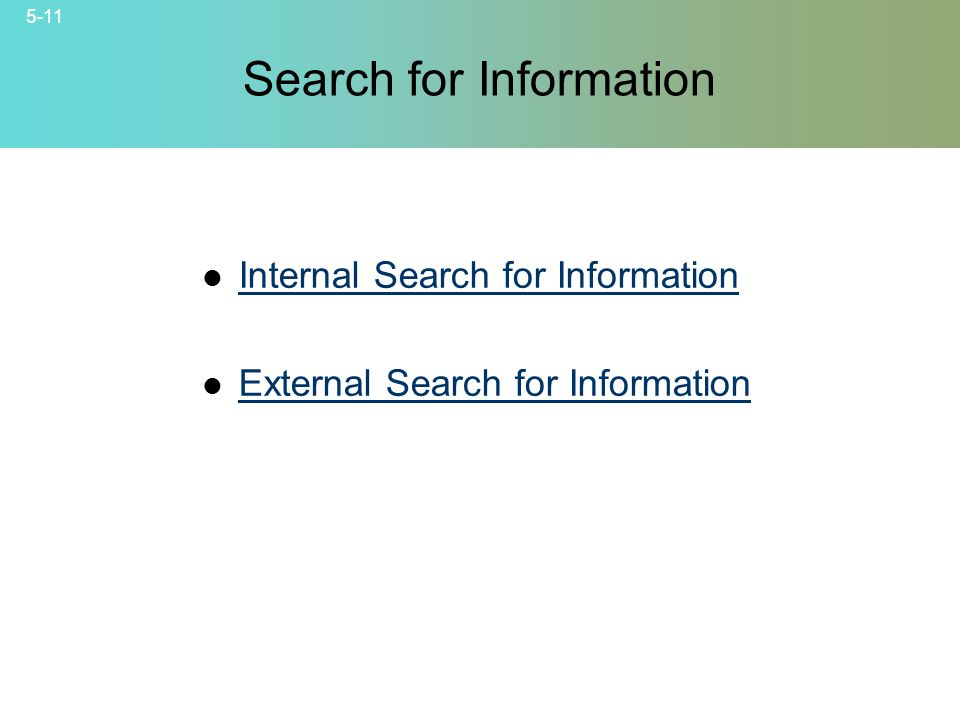 5-11 © 2007 McGraw-Hill Companies, Inc., McGraw-Hill/Irwin Search for Information Internal Search for Information External Search for Information