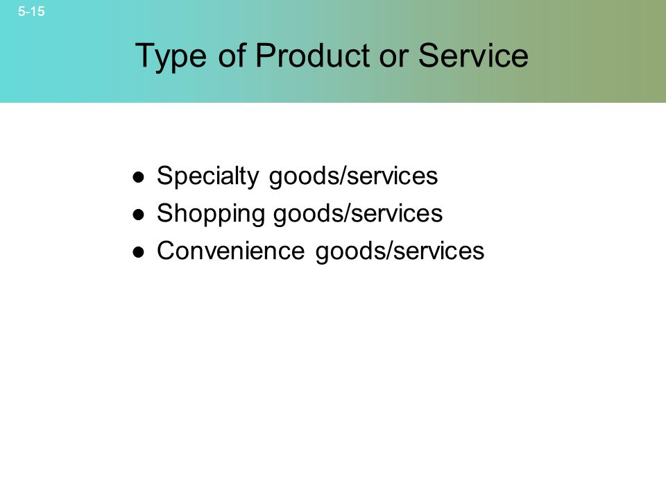 5-15 © 2007 McGraw-Hill Companies, Inc., McGraw-Hill/Irwin Type of Product or Service Specialty goods/services Shopping goods/services Convenience goods/services
