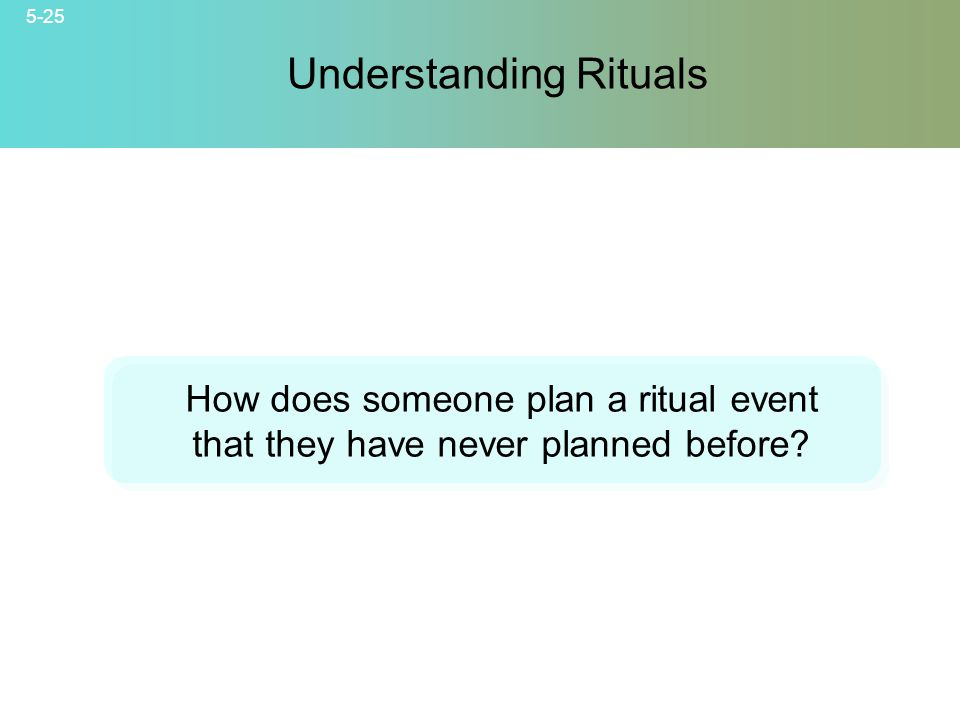 5-25 Understanding Rituals How does someone plan a ritual event that they have never planned before?