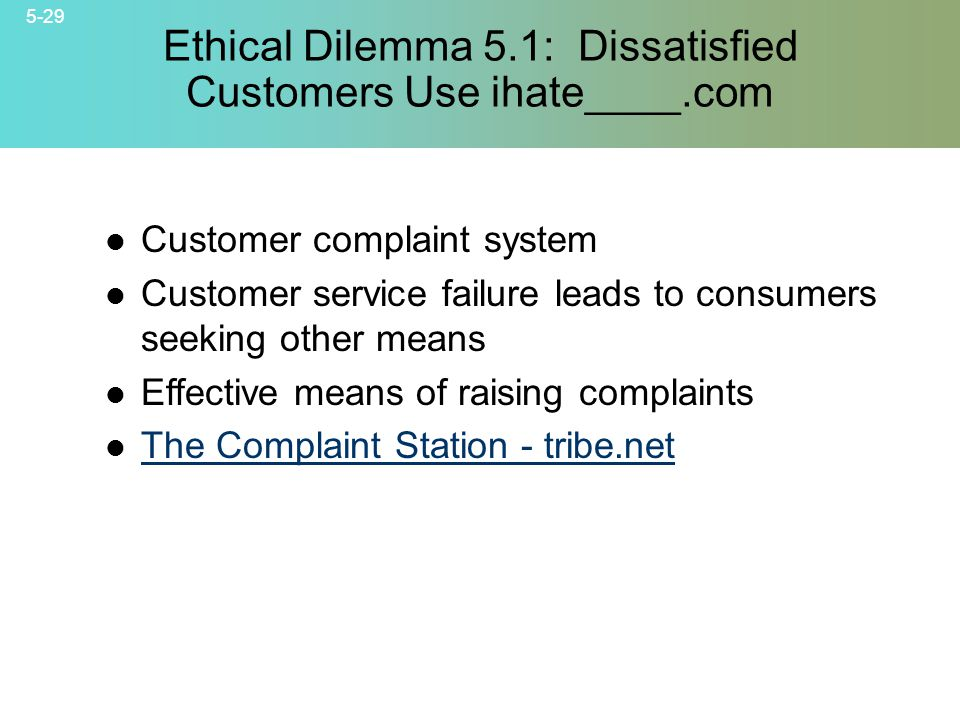 5-29 © 2007 McGraw-Hill Companies, Inc., McGraw-Hill/Irwin Ethical Dilemma 5.1: Dissatisfied Customers Use ihate____.com Customer complaint system Customer service failure leads to consumers seeking other means Effective means of raising complaints The Complaint Station - tribe.net