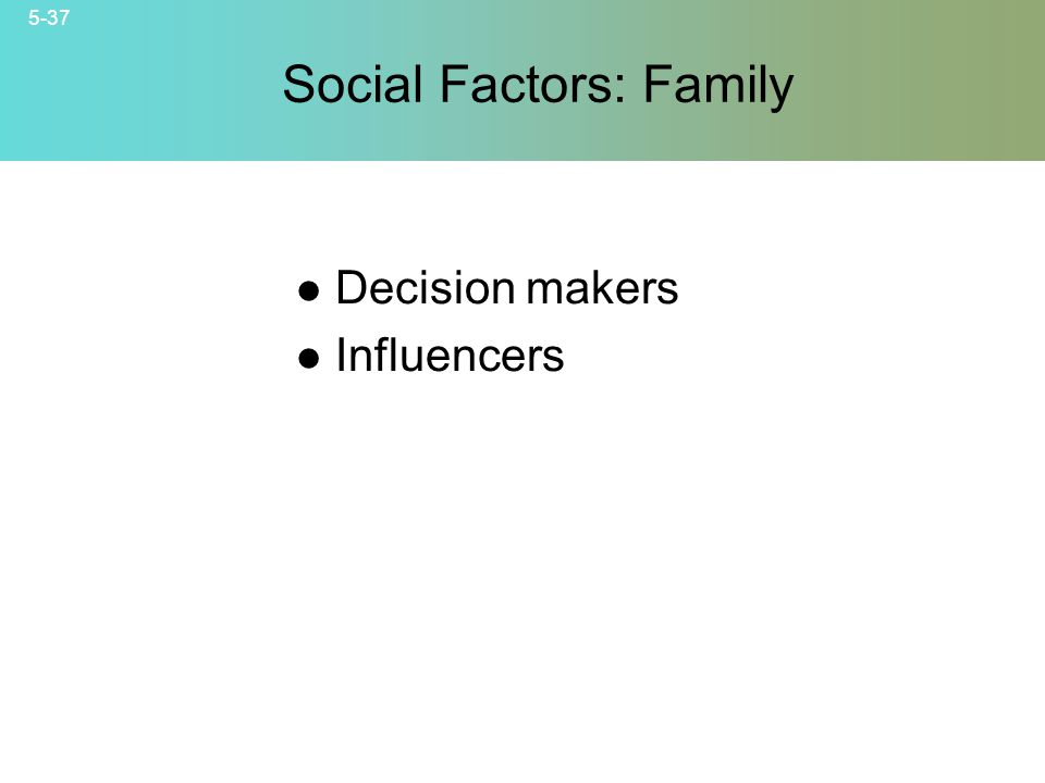 5-37 Social Factors: Family © 2007 McGraw-Hill Companies, Inc., McGraw-Hill/Irwin Decision makers Influencers