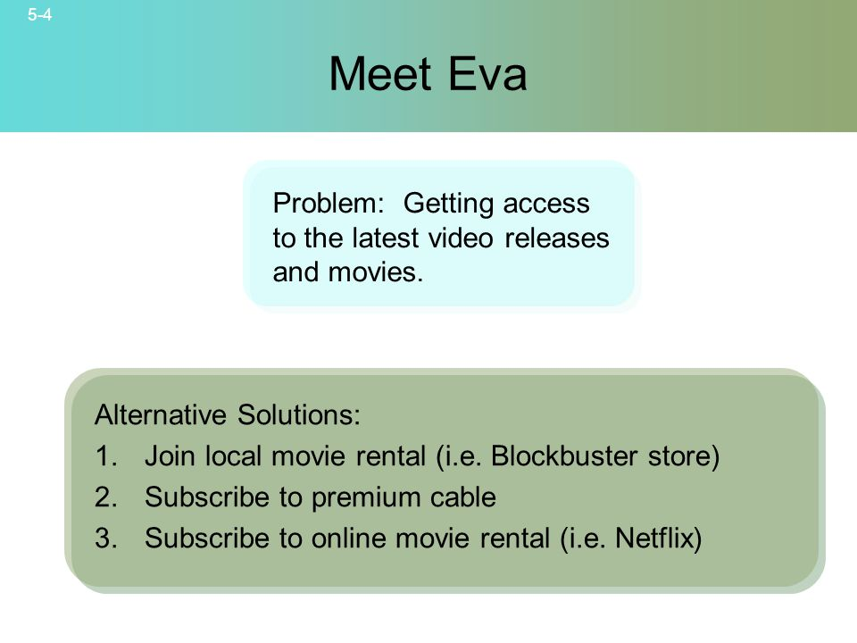 5-4 © 2007 McGraw-Hill Companies, Inc., McGraw-Hill/Irwin Meet Eva Alternative Solutions: 1.Join local movie rental (i.e.