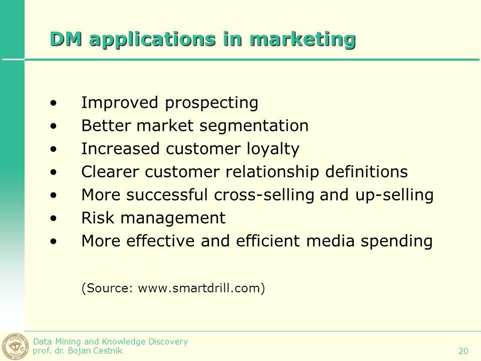 Data Mining and Knowledge Discovery prof. dr. Bojan Cestnik 20 DM applications in marketing Improved prospecting Better market segmentation Increased