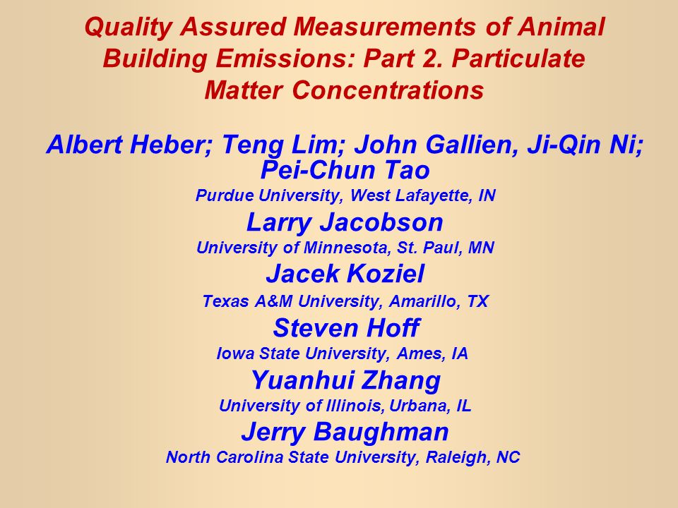 Objectives Describe use of TEOM in livestock buildings to measure TSP, PM10 and PM2.5.