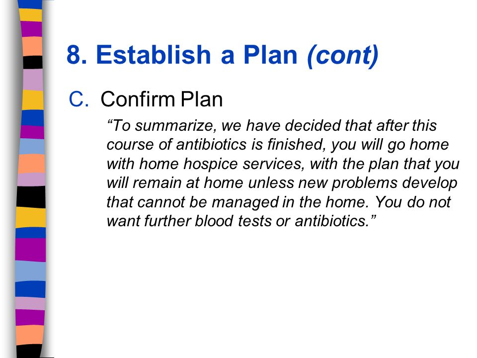 C.Confirm Plan To summarize, we have decided that after this course of antibiotics is finished, you will go home with home hospice services, with the plan that you will remain at home unless new problems develop that cannot be managed in the home.