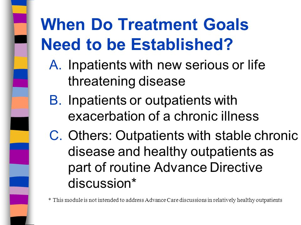 1.Prepare for the Goal Setting Discussion A.Decide if the patient is dying – progressive loss of function and/or weight loss despite best medical therapy and/or – requiring increasing medical resources with no improvement in quality of life and/or – the patient has requested no further measures to reverse current or future medical problems (e.g.