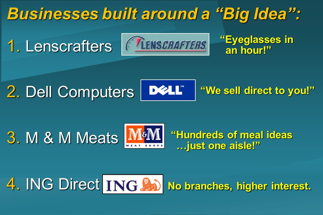 Businesses built around a Big Idea: 1. Lenscrafters 2. Dell Computers 3. M & M Meats 4. ING Direct No branches, higher interest. We sell direct to you