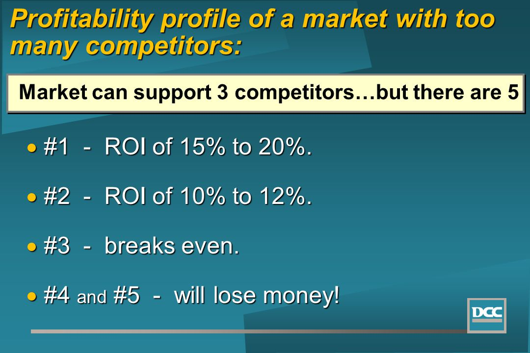 #1 - ROI of 15% to 20%. #1 - ROI of 15% to 20%. #2 - ROI of 10% to 12%. #2 - ROI of 10% to 12%. #3 - breaks even. #3 - breaks even. #4 and #5 - will l