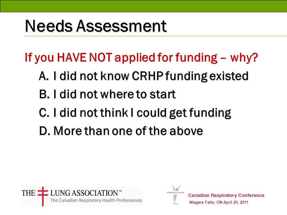 Niagara Falls, ON April 29, 2011 Needs Assessment If you HAVE NOT applied for funding – why? A.I did not know CRHP funding existed B.I did not where t
