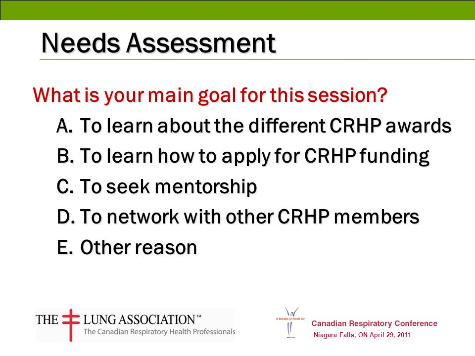 Niagara Falls, ON April 29, 2011 Needs Assessment What is your main goal for this session? A.To learn about the different CRHP awards B.To learn how t