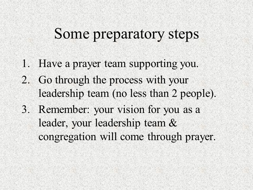 1.Have a prayer team supporting you.