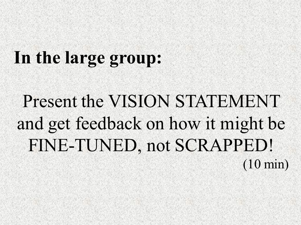 In the large group: Present the VISION STATEMENT and get feedback on how it might be FINE-TUNED, not SCRAPPED.