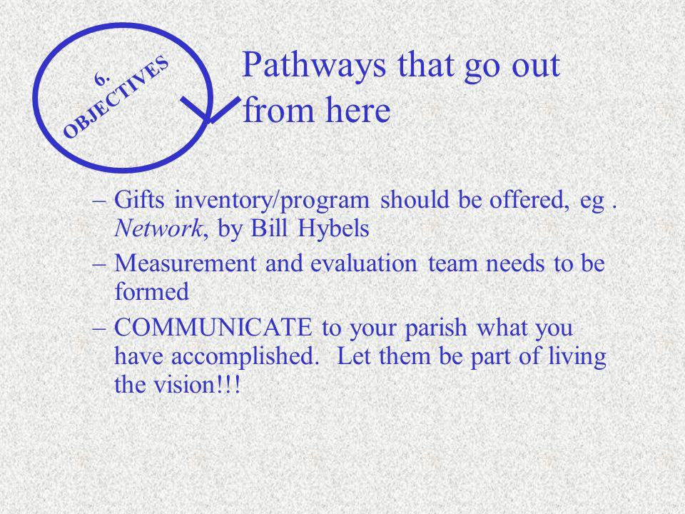 Pathways that go out from here 6. OBJECTIVES –Gifts inventory/program should be offered, eg.