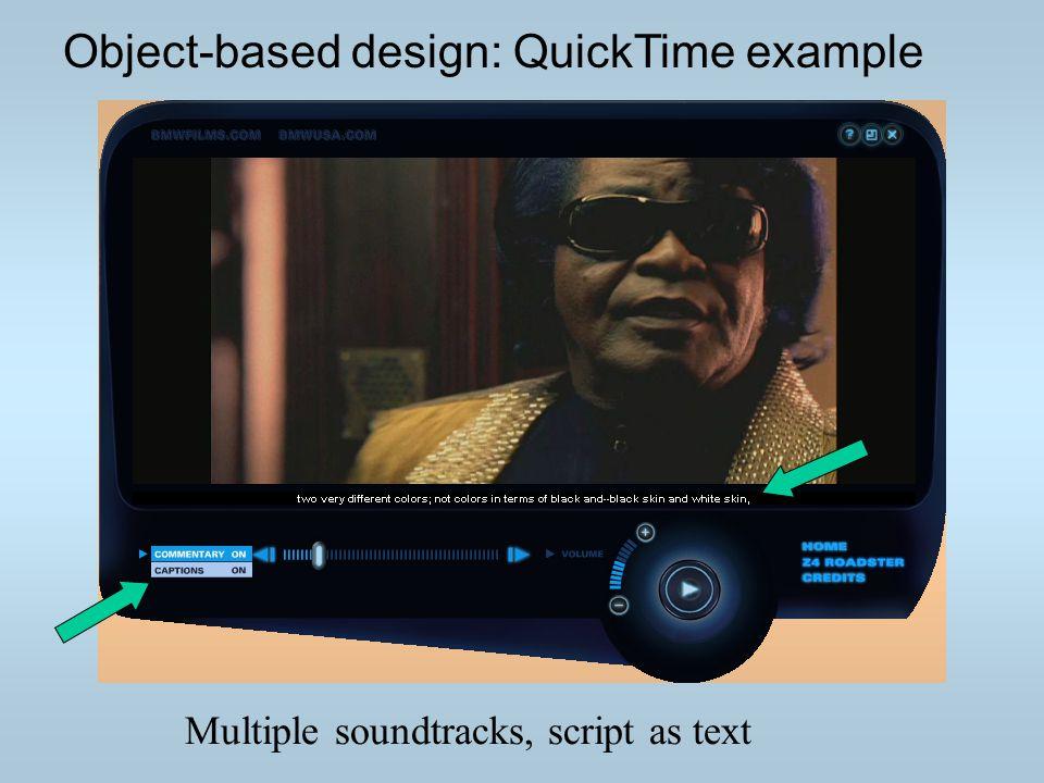 Multiple soundtracks, script as text