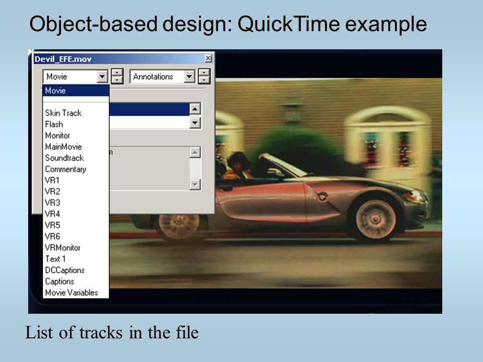 Object-based design: QuickTime example List of tracks in the file