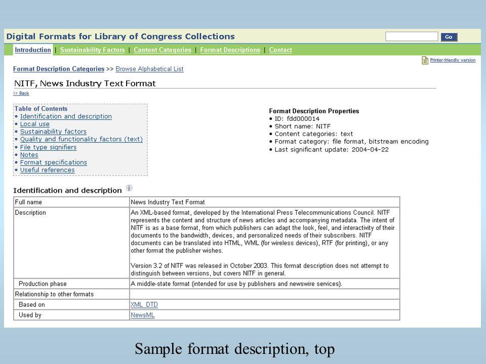 Sample format description, top