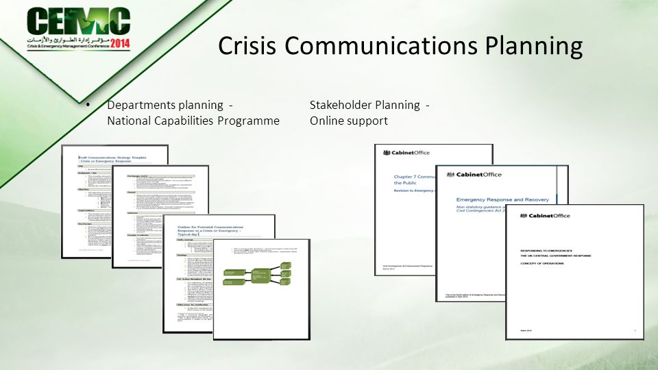 Crisis Communications Planning Departments planning -Stakeholder Planning - National Capabilities ProgrammeOnline support