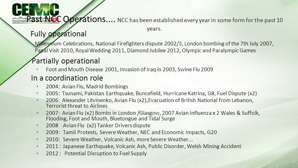 Past NCC Operations.... NCC has been established every year in some form for the past 10 years.