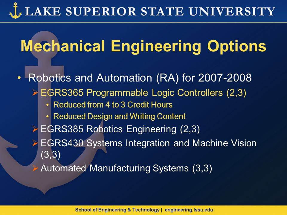 Mechanical Engineering Options Robotics and Automation (RA) for 2007-2008 EGRS365 Programmable Logic Controllers (2,3) Reduced from 4 to 3 Credit Hours Reduced Design and Writing Content EGRS385 Robotics Engineering (2,3) EGRS430 Systems Integration and Machine Vision (3,3) Automated Manufacturing Systems (3,3)