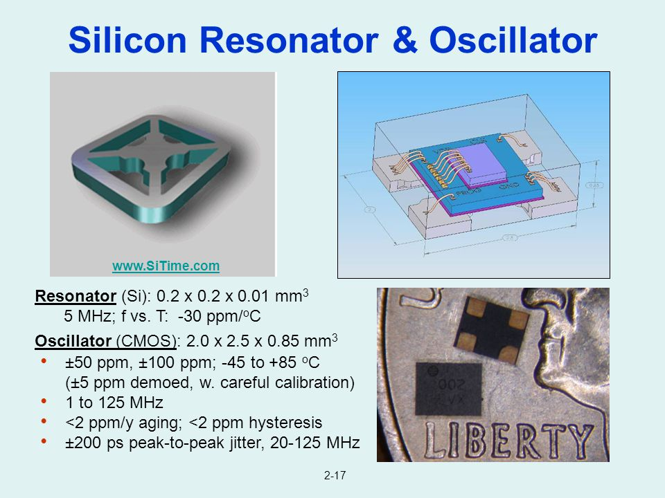Silicon Resonator & Oscillator Resonator (Si): 0.2 x 0.2 x 0.01 mm 3 5 MHz; f vs. T: -30 ppm/ o C Oscillator (CMOS): 2.0 x 2.5 x 0.85 mm 3 www.SiTime.