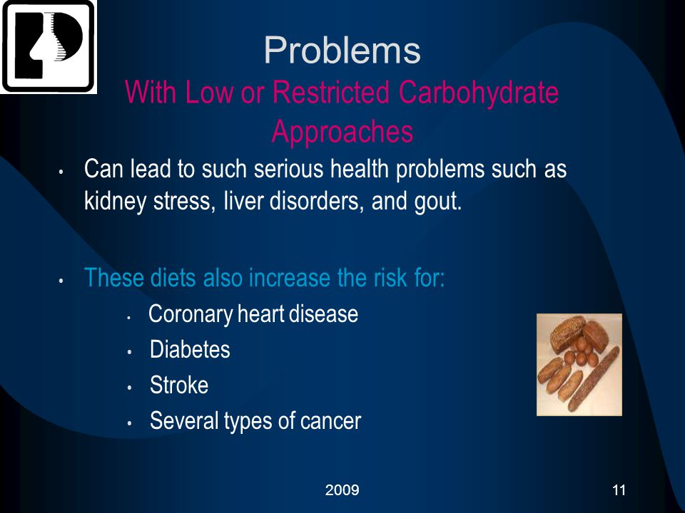 200911 Problems With Low or Restricted Carbohydrate Approaches Can lead to such serious health problems such as kidney stress, liver disorders, and go