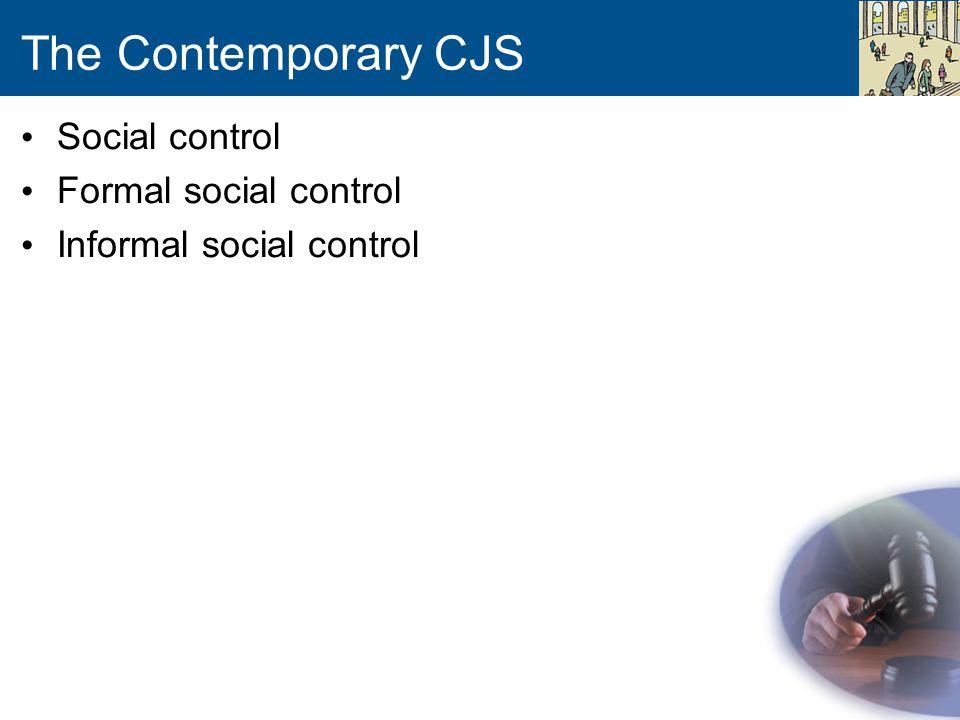 The Contemporary CJS Social control Formal social control Informal social control