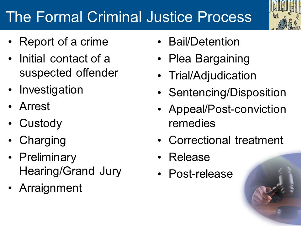 The Formal Criminal Justice Process Report of a crime Initial contact of a suspected offender Investigation Arrest Custody Charging Preliminary Hearin