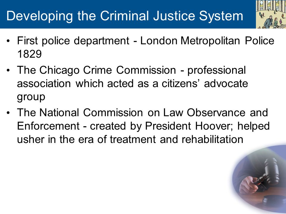 Developing the Criminal Justice System First police department - London Metropolitan Police 1829 The Chicago Crime Commission - professional associati