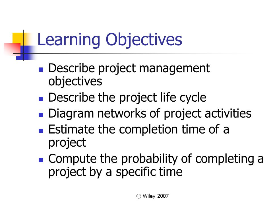 © Wiley 2007 Some Network Definitions All activities on the critical path have zero slack Slack defines how long non-critical activities can be delayed without delaying the project Slack = the activitys late finish minus its early finish (or its late start minus its early start) Earliest Start (ES) = the earliest finish of the immediately preceding activity Earliest Finish (EF) = is the ES plus the activity time Latest Start (LS) and Latest Finish (LF) = the latest an activity can start (LS) or finish (LF) without delaying the project completion