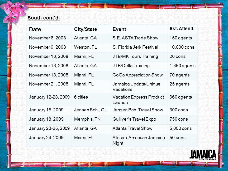 South contd. Date City/StateEvent Est. Attend. November 6, 2008Atlanta, GAS.E. ASTA Trade Show150 agents November 9, 2008Weston, FLS. Florida Jerk Fes