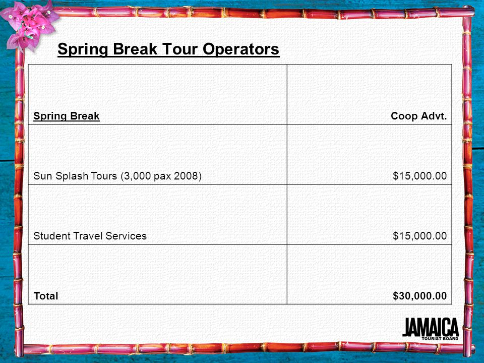 Spring Break Tour Operators Spring BreakCoop Advt.