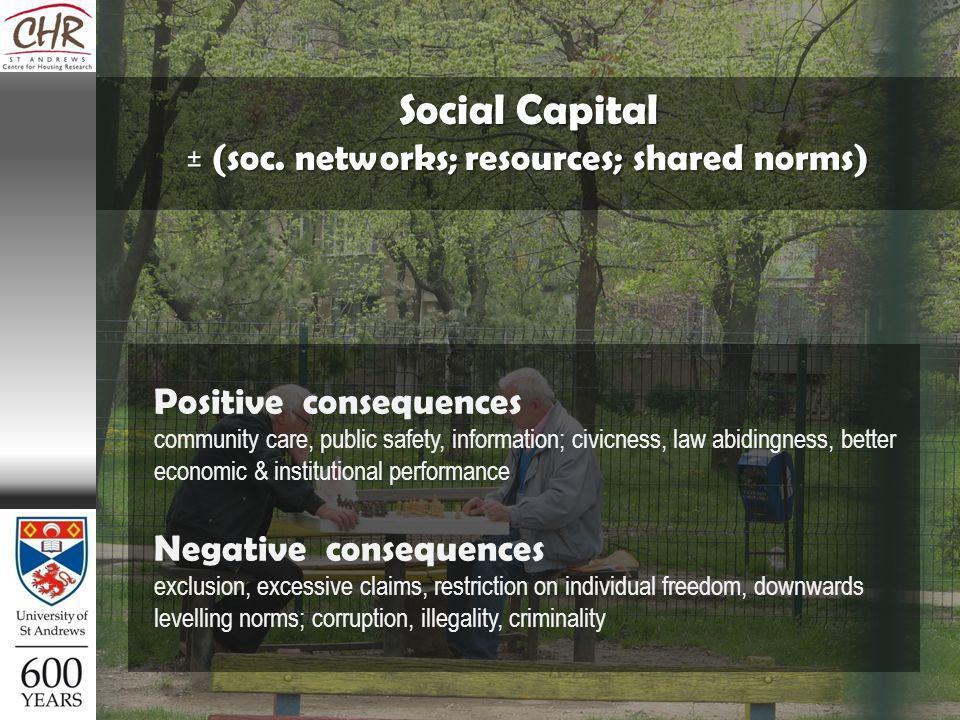 Positive consequences community care, public safety, information; civicness, law abidingness, better economic & institutional performance Negative consequences exclusion, excessive claims, restriction on individual freedom, downwards levelling norms; corruption, illegality, criminality Social Capital ± (soc.
